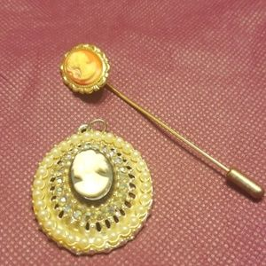 Cameo brooch and stickpin PM 714